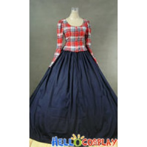 Civil War Victorian Ball Gown Cosplay Tartan Day Dress