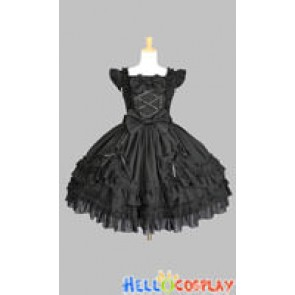 Victorian Gothic Lolita Punk Black Fluffy Dress