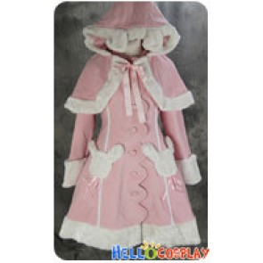 Gothic Lolita Cosplay Pink Teddy Cape Rabbit Jacket Costume