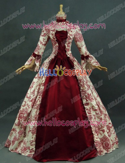 Victorian Lolita Reenactment Stage Antique Gothic Lolita Dress Red Floral