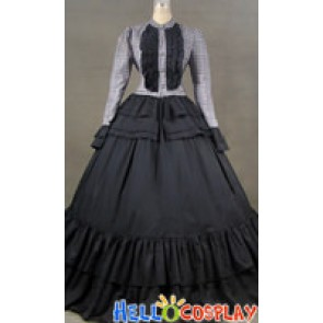 Victorian Civil War Ball Gown Tartan Dress Prom