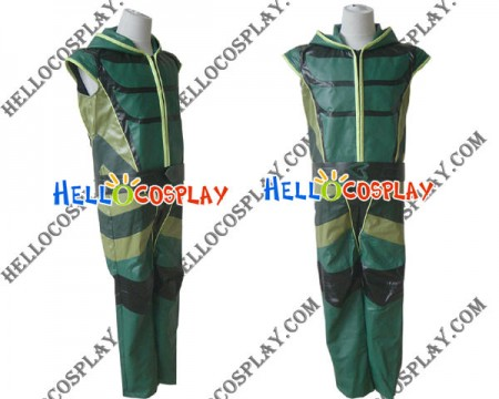 Smallville Green Arrow Cosplay Artificial Leather Jumpsuit Costume