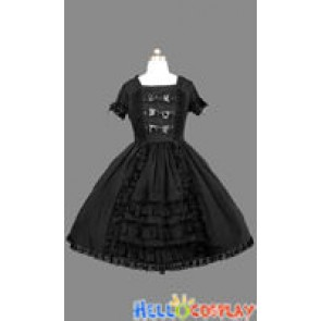Gothic Lolita Punk Black Cotton Dress