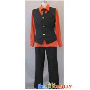One Piece Cosplay Sanji Costume Orange Shirt Black Vest
