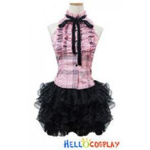 Angel Feather Cosplay Sweet Pink Plaid Dress Costume