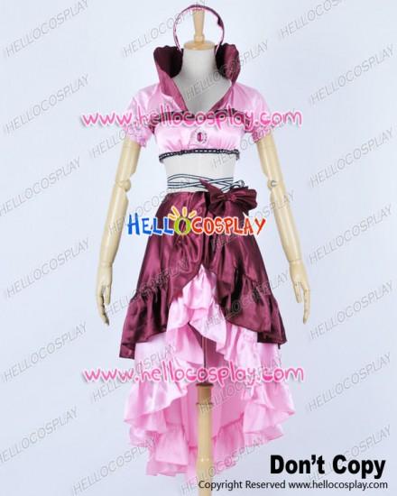 Karneval Cosplay Eva Pink Satin Dress Costume