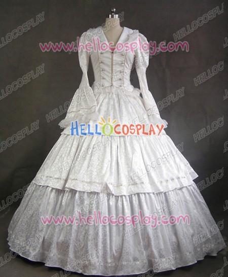 Victorian Lolita Civil War Evening Gothic Lolita Dress White
