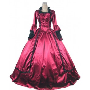 Marie Antoinette Victorian Ball Gown Cosplay Red Wedding Dress