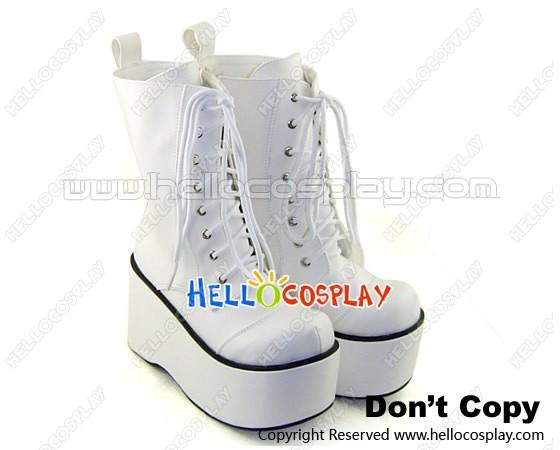 White Lace Up Platform Japanese Gothic Lolita Boots
