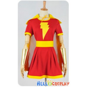Captain Marvel Cosplay Mary Marvel Heroine Shawl Dress Costume