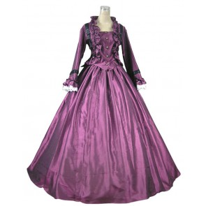 Victorian Civil War Ball Gown Prom Satin Evening Dress