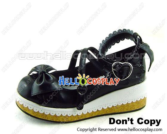 a42edb5b5d42c White Black Heart Shaped Buckles Platform Princess Lolita Shoes