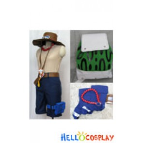 One Piece Cosplay Portgas D Ace Costume Green Bag Full Set