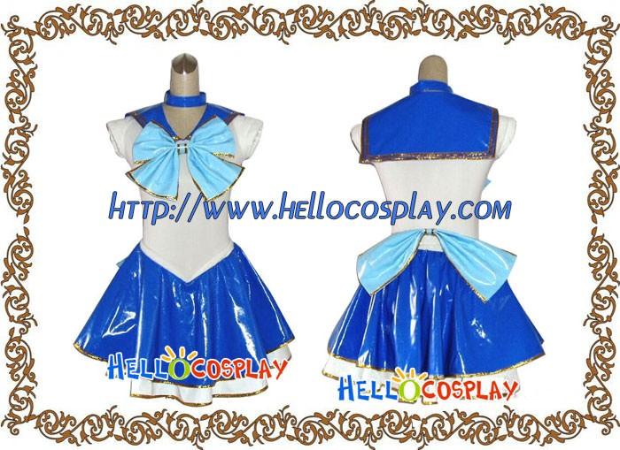 466982530 Sailor Moon Sailor Mercury Cosplay Costume Leather Dress