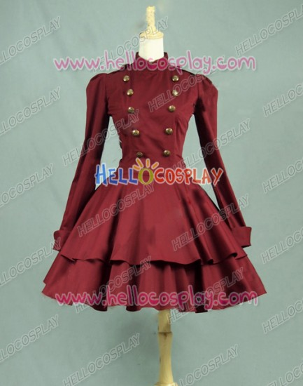 Victorian Lolita Steampunk Military Coat Gothic Lolita Dress Burgundy