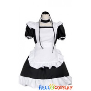Sweet Lace White Black Cosplay Maid Dress Costume
