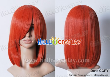 Orange Red 45cm Cosplay Straight Wig