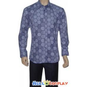 Blue Cotton Hexagon Shirt Size (M) Free Shipping