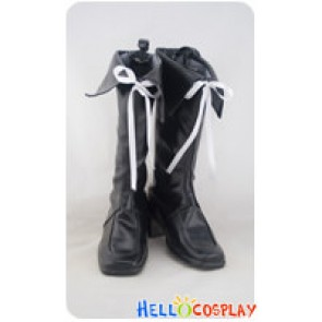 AKB0048 Cosplay White Ribbon Black Boots