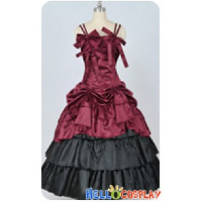 Southern Belle Satin Ball Gown Lavender Prom Red Lolita Dress