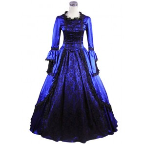Marie Antoinette Victorian Ball Gown Prom Royal Blue Wedding Dress