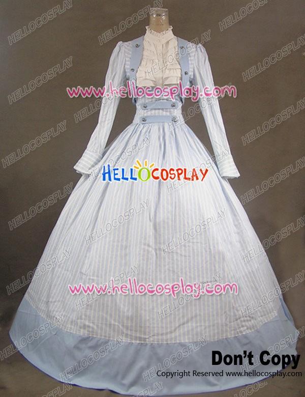 Victorian Civil War Stripes Ball Gown Reenactment Stage Blue Lolita ...
