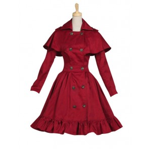 Gothic Lolita Cosplay Victorian Cape Reenactment Steampunk Stage Red Dress Costume