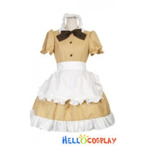Cafe Cute Beige Bow Knot Cosplay Maid Dress Costume