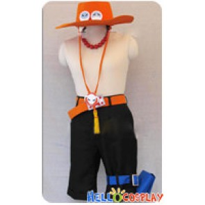 One Piece Cosplay Portgas D Ace Costume Orange Hat Belt Full Set