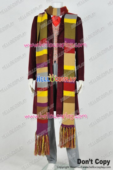 Doctor 4th Fourth Dr Tom Baker Cosplay Costume Daily Full Set With Scarf