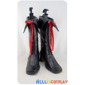 AKB0048 Cosplay Shoes Red Ribbon Black Boots