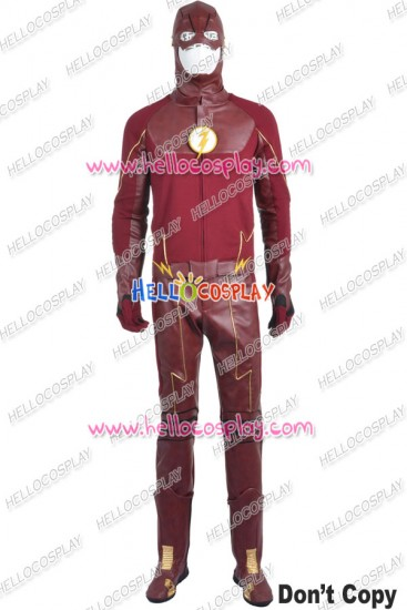 The Flash Barry Allen Cosplay Costume Red Leather Uniform New Version