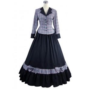 Civil War Victorian Tartan Evening Gown Stripe Dress