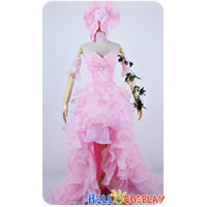 Vocaloid 2 Cosplay Kagamine Rin Pink Long Formal Dress Costume