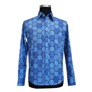 Blue Cotton Tailor-Made Shirt : S