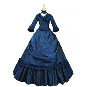 Victorian Lolita Bustle Period Reenactment Gothic Lolita Dress Navy Blue