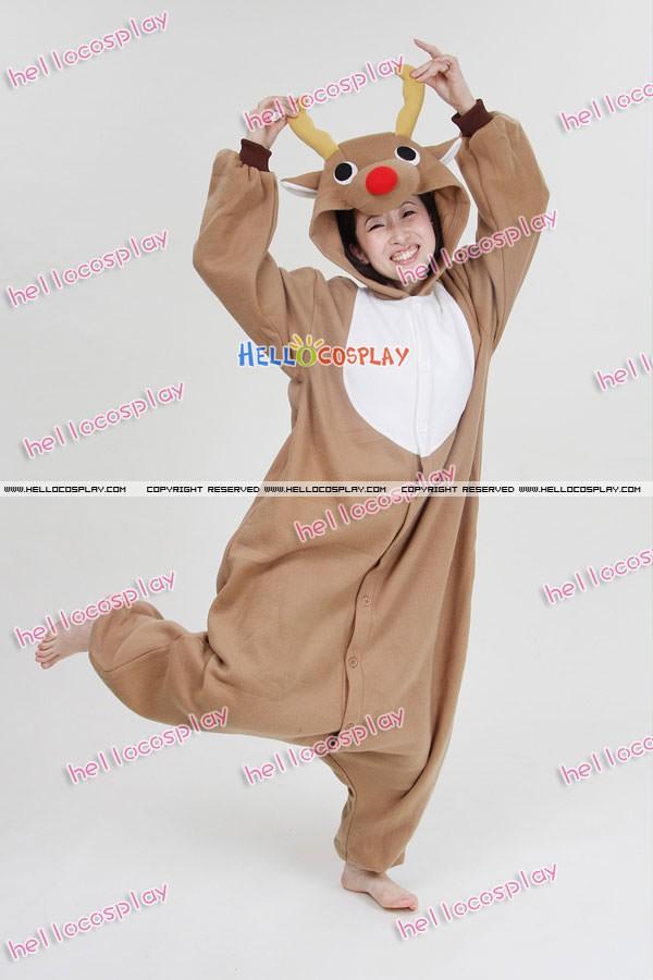 86e6978b04ea Kigurumi Costumes Light Brown Reindeer Pajamas