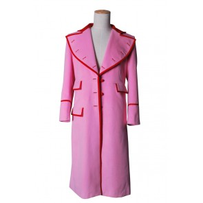 Doctor Dr Time Lady Romana Pink Trench Coat Cashmere Costume