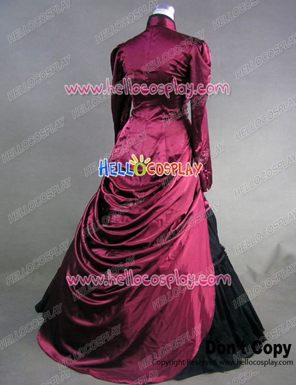 Victorian Satin French Bustle Formal Ball Gown Reenactment Lolita ...