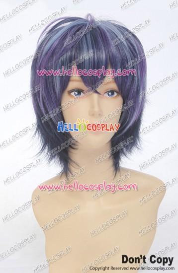 Black Bullet Cosplay Rentarō Satomi Wig Streaked Short Black Purple Blue