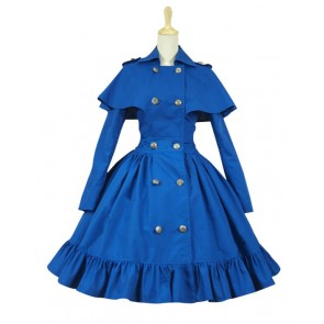 Gothic Lolita Cosplay Victorian Cape Reenactment Steampunk Stage Blue Dress Costume
