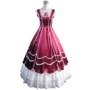 Civil War Gothic Southern Belle Ball Red Gown Dress