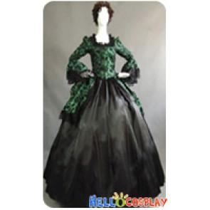 Victorian Lolita Marie Antoinette Brocade Gothic Lolita Dress Green Floral