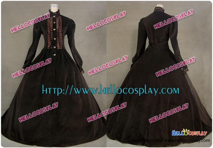 Civil War Victorian Punk Velvet Dress Ball Gown Prom