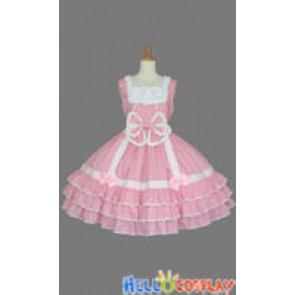 Sweet Lolita Gothic Punk Jumper Skirt Pink Dress