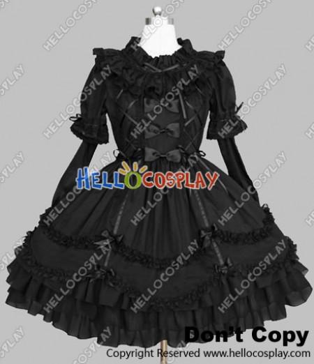 Victorian Gothic Lolita Punk Gorgeous Black Cotton Dress