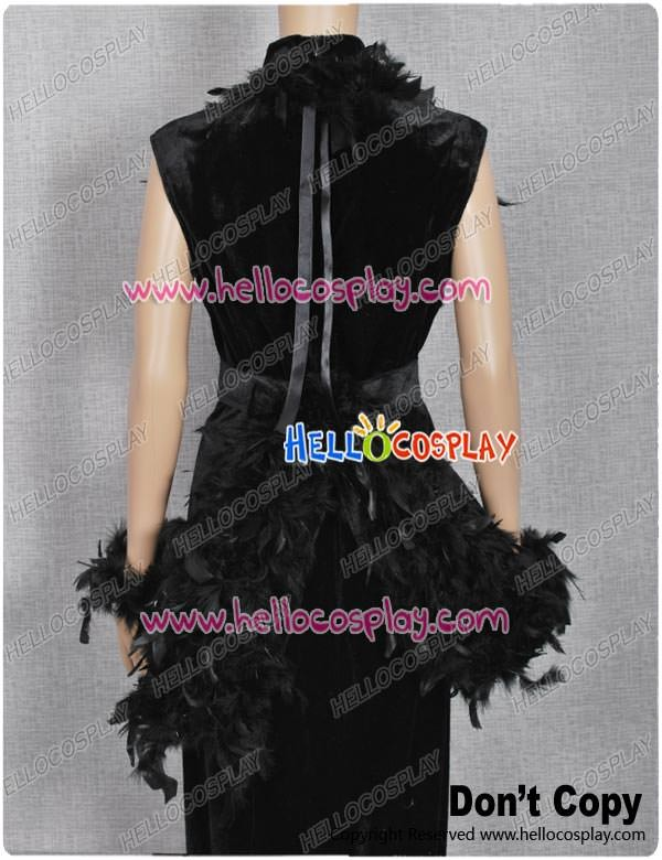 Vintage Black Gown Feather Dress Historical Retro Costume