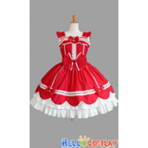 Sweet Lolita Gothic Punk Jumper Skirt Red Dress