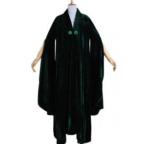 Harry Potter Minerva McGonagall Cosplay Costume Dark Green Cloak Trench Coat
