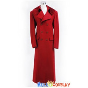 Doctor Cosplay Dr Dark Red Long Wool Trench Coat Costume